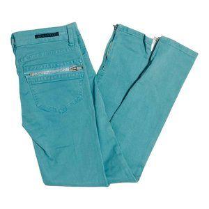 Rockstar Sushi Women Size 28 Blue Green Ankle Zip Low Raise Skinny Denim Jeans